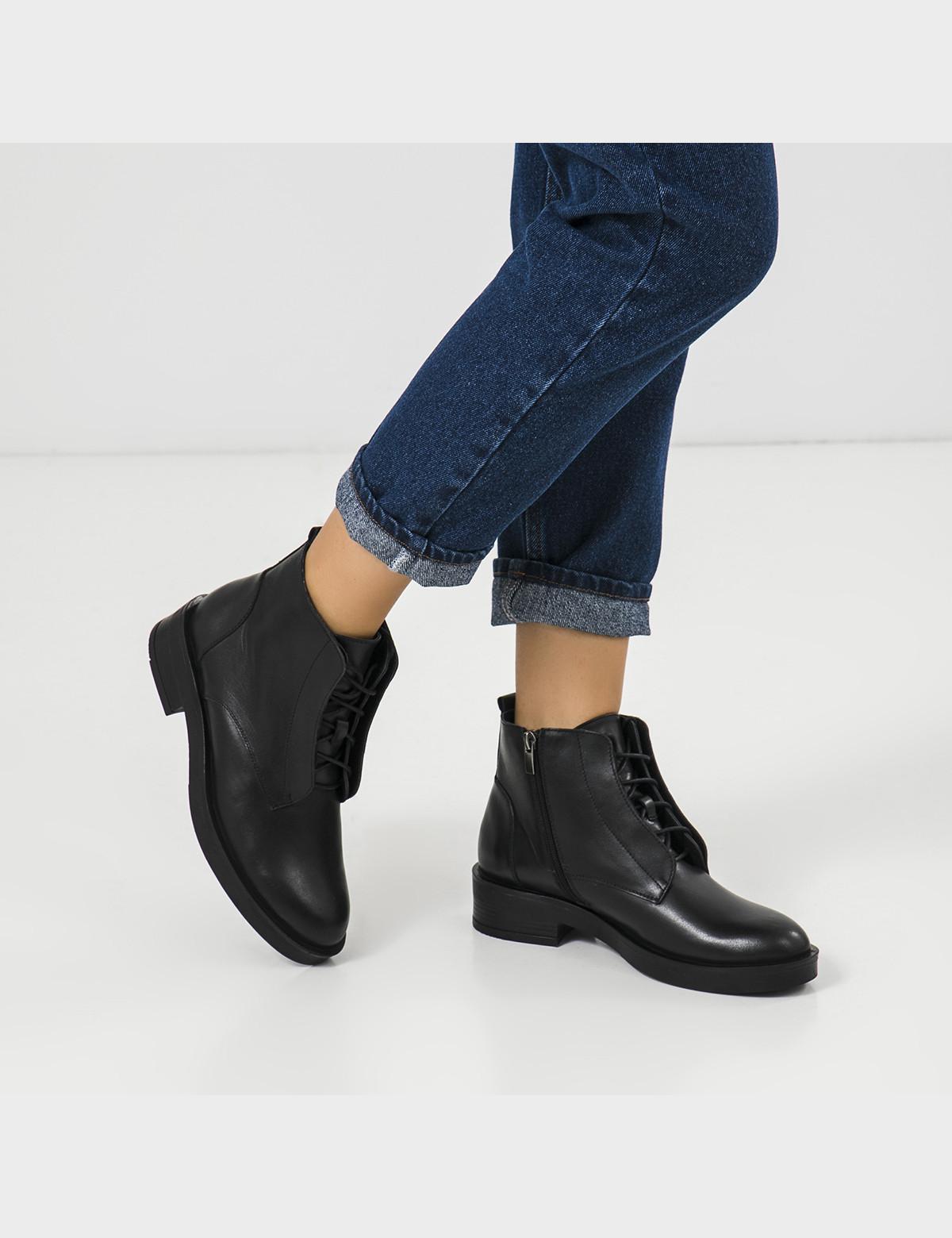 Ботинки черные натуральная кожа. Шерсть 5
