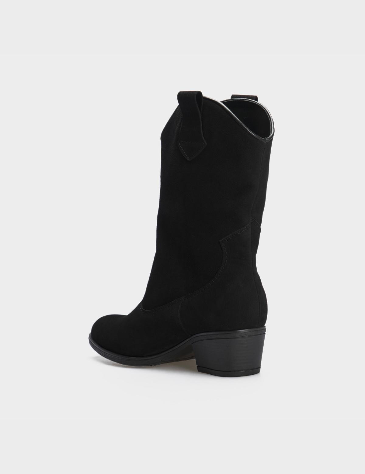 Ботинки черные натуральный нубук. Байка2