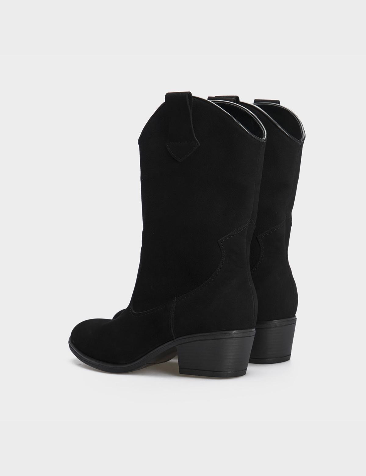 Ботинки черные натуральный нубук. Байка3
