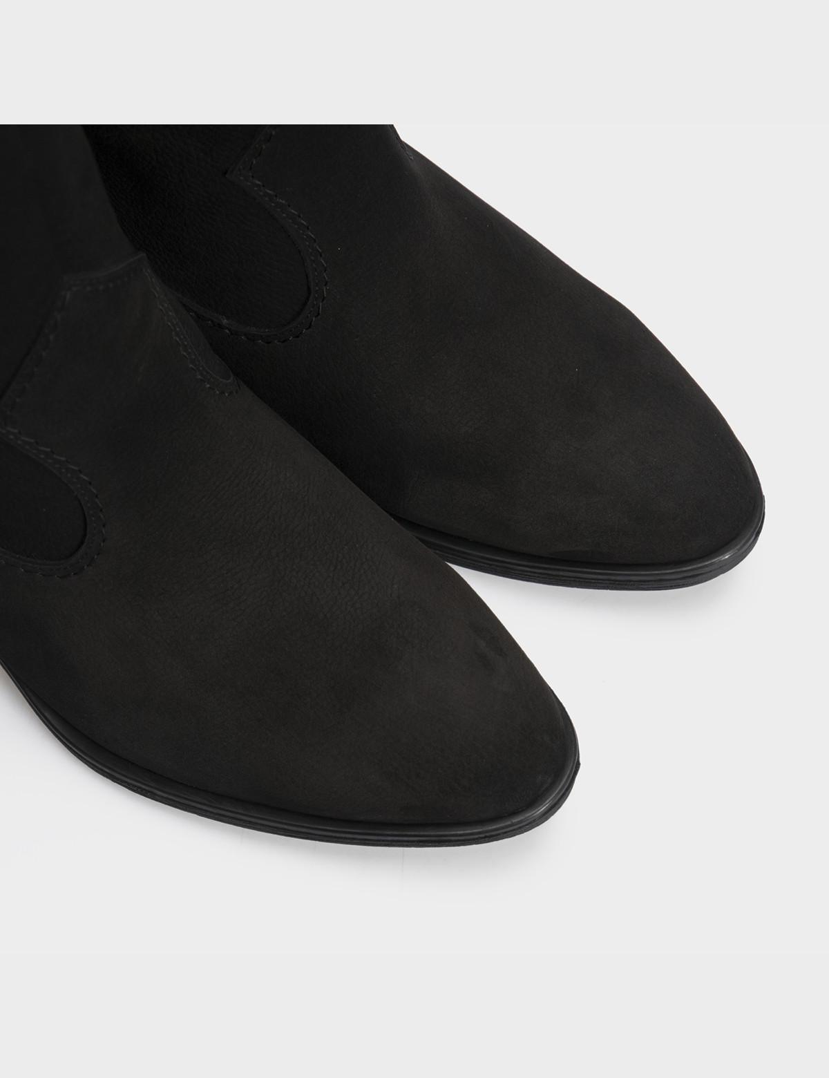 Ботинки черные натуральный нубук. Байка4