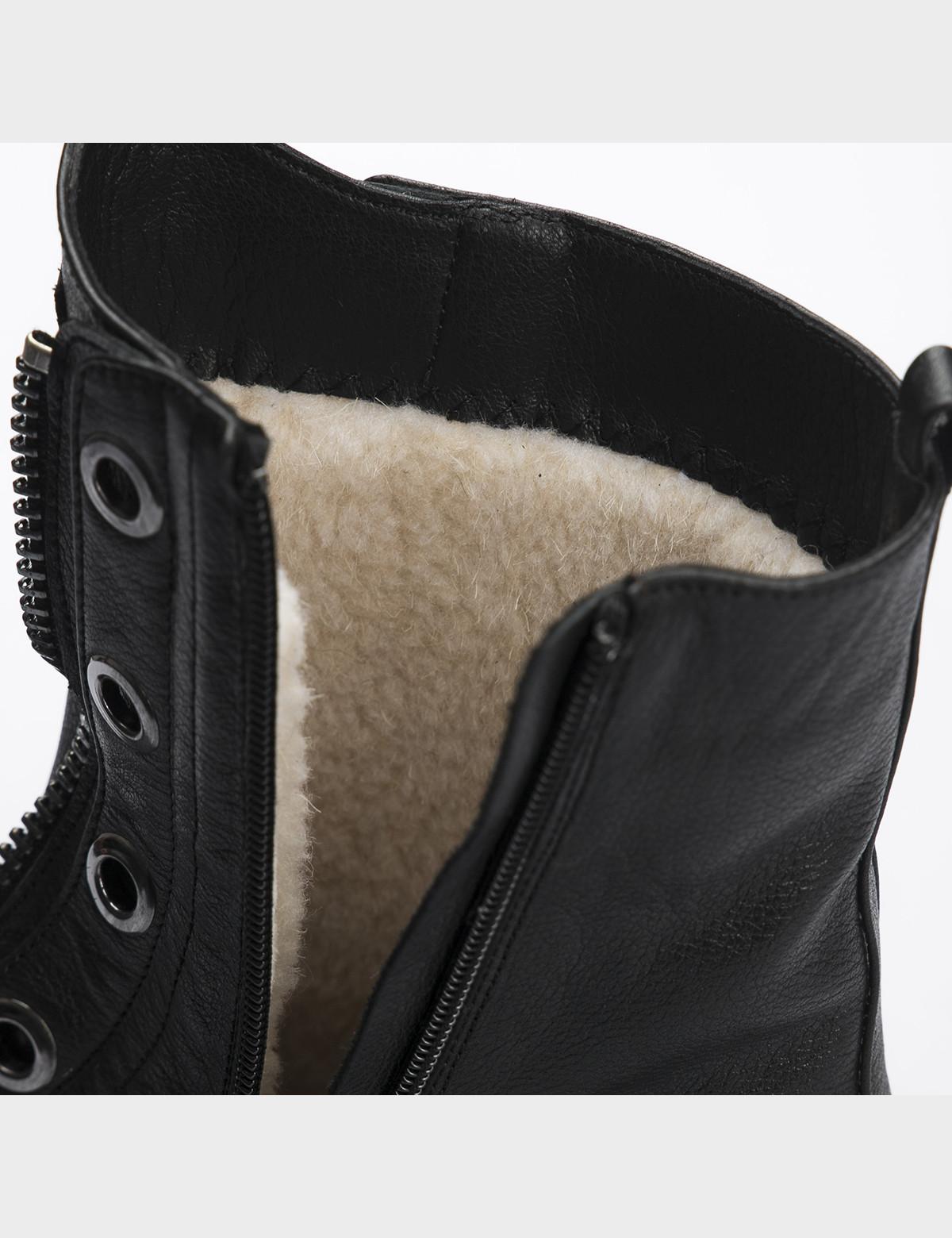 Ботинки черные, натуральная кожа. Шерсть4