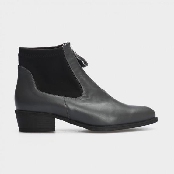 Ботинки серые, натуральная кожа/стрейч. Байка