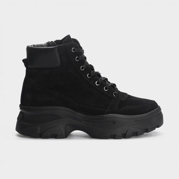 Ботинки черные, натуральная кожа/замша. Байка