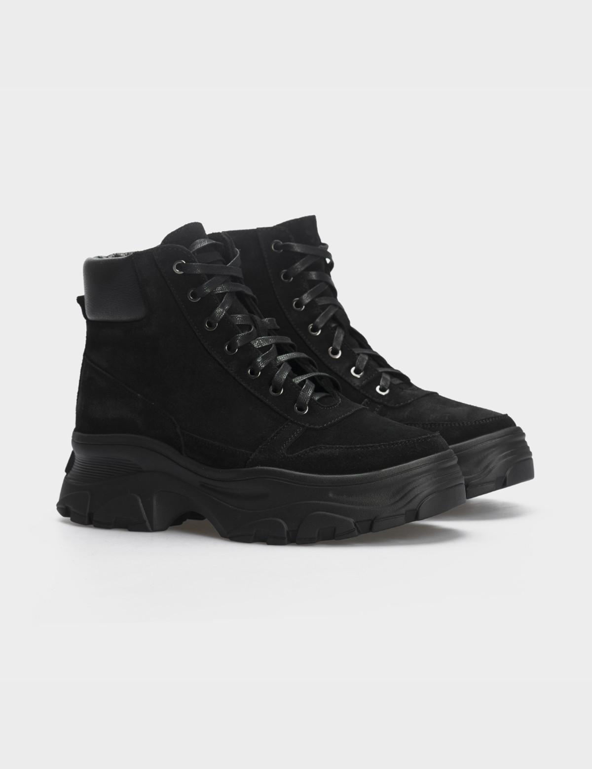 Ботинки черные, натуральная кожа/замша. Шерсть1