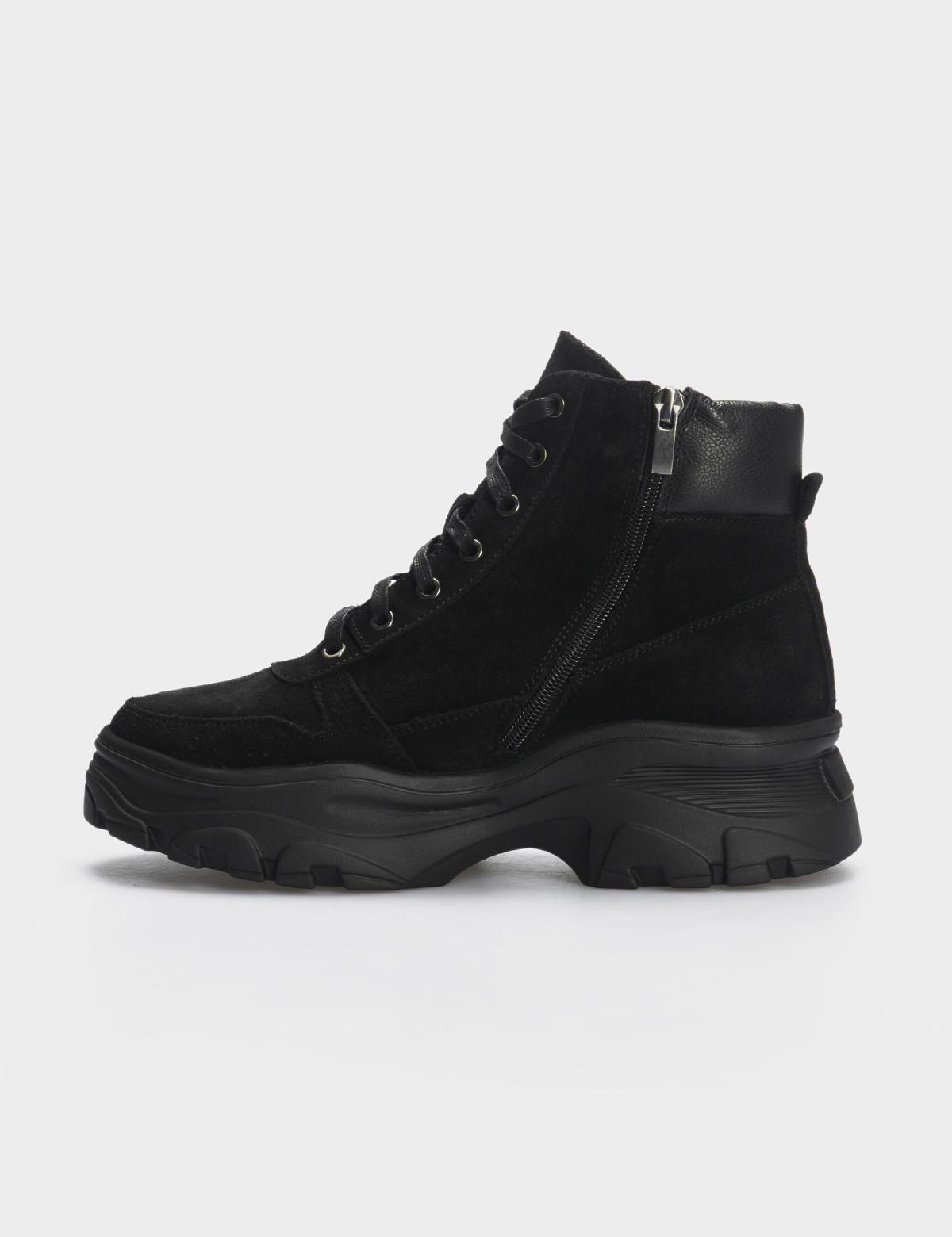 Ботинки черные, натуральная кожа/замша. Шерсть3