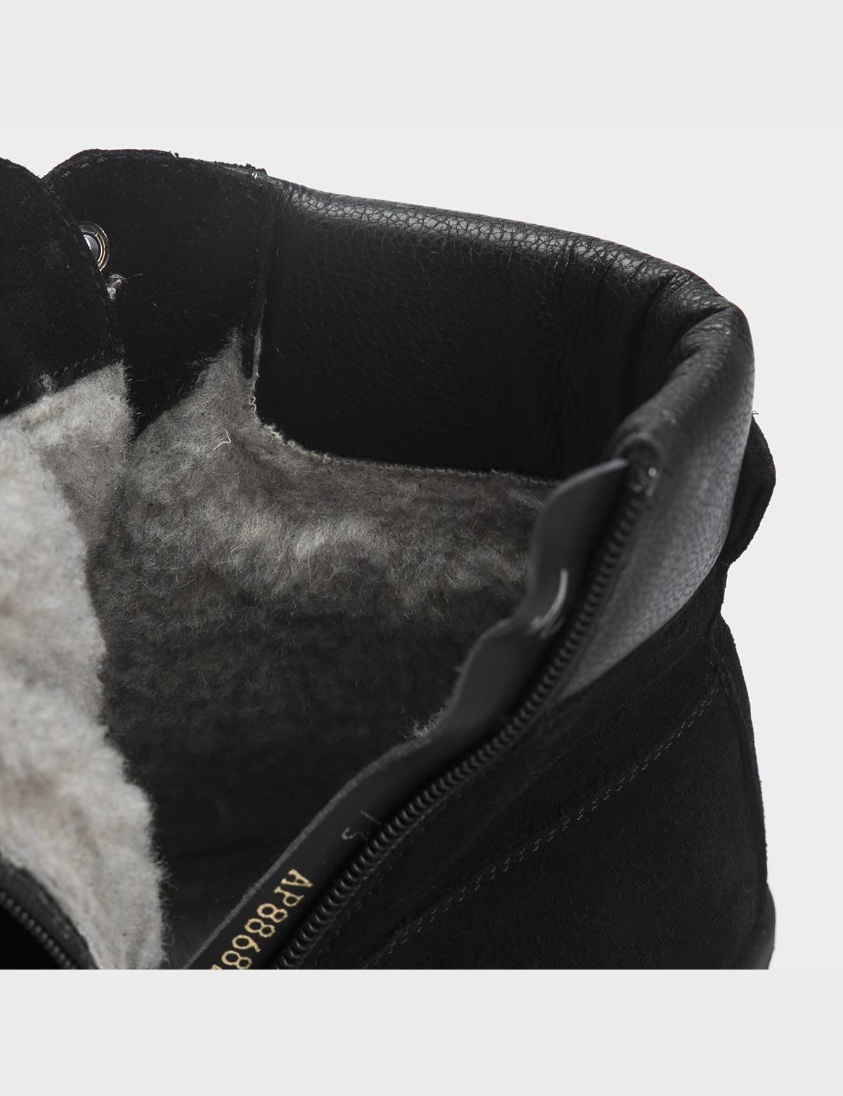Ботинки черные, натуральная кожа/замша. Шерсть4