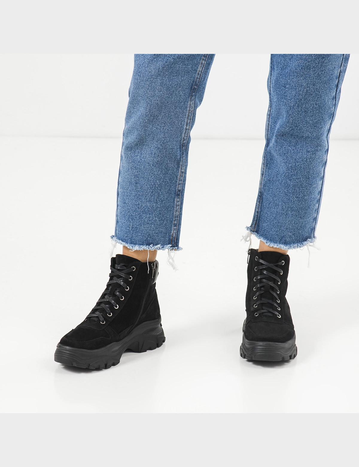 Ботинки черные, натуральная кожа/замша. Шерсть6