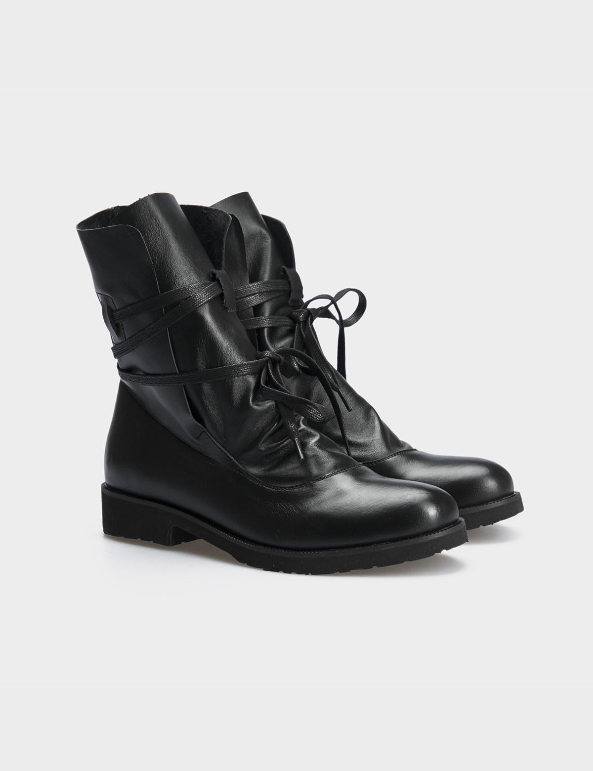 Ботинки натуральная черная кожа. 1