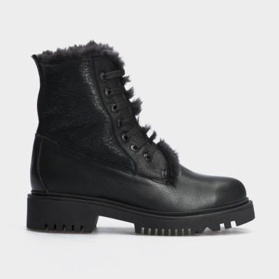Ботинки черные,натуральная кожа. Шерсть