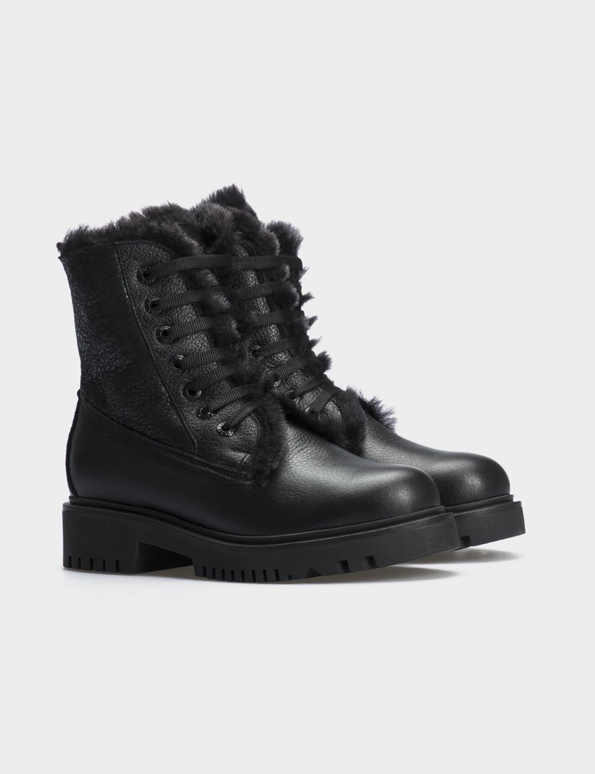 Ботинки черные,натуральная кожа. Шерсть1