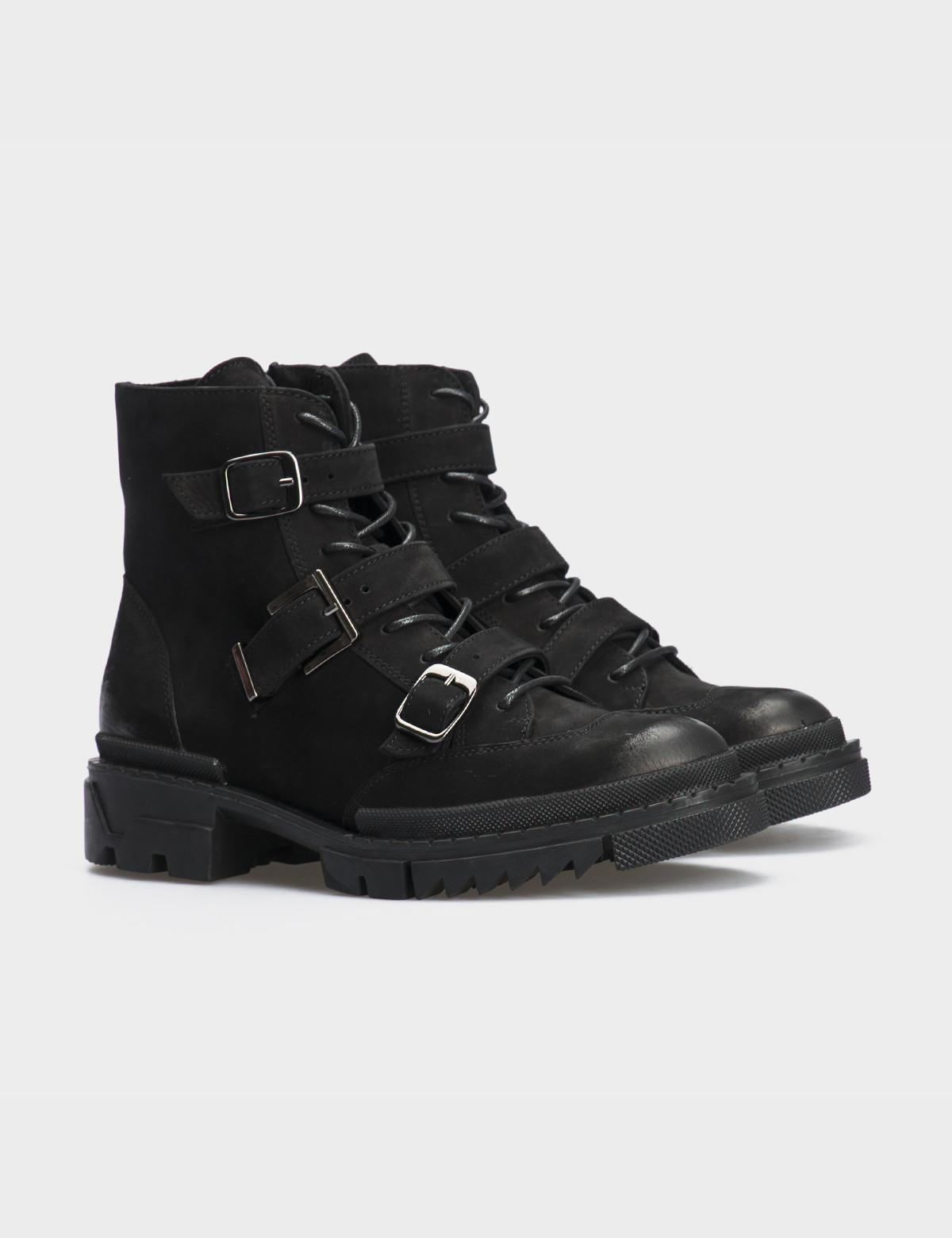 Ботинки черные натуральный нубук. Байка1