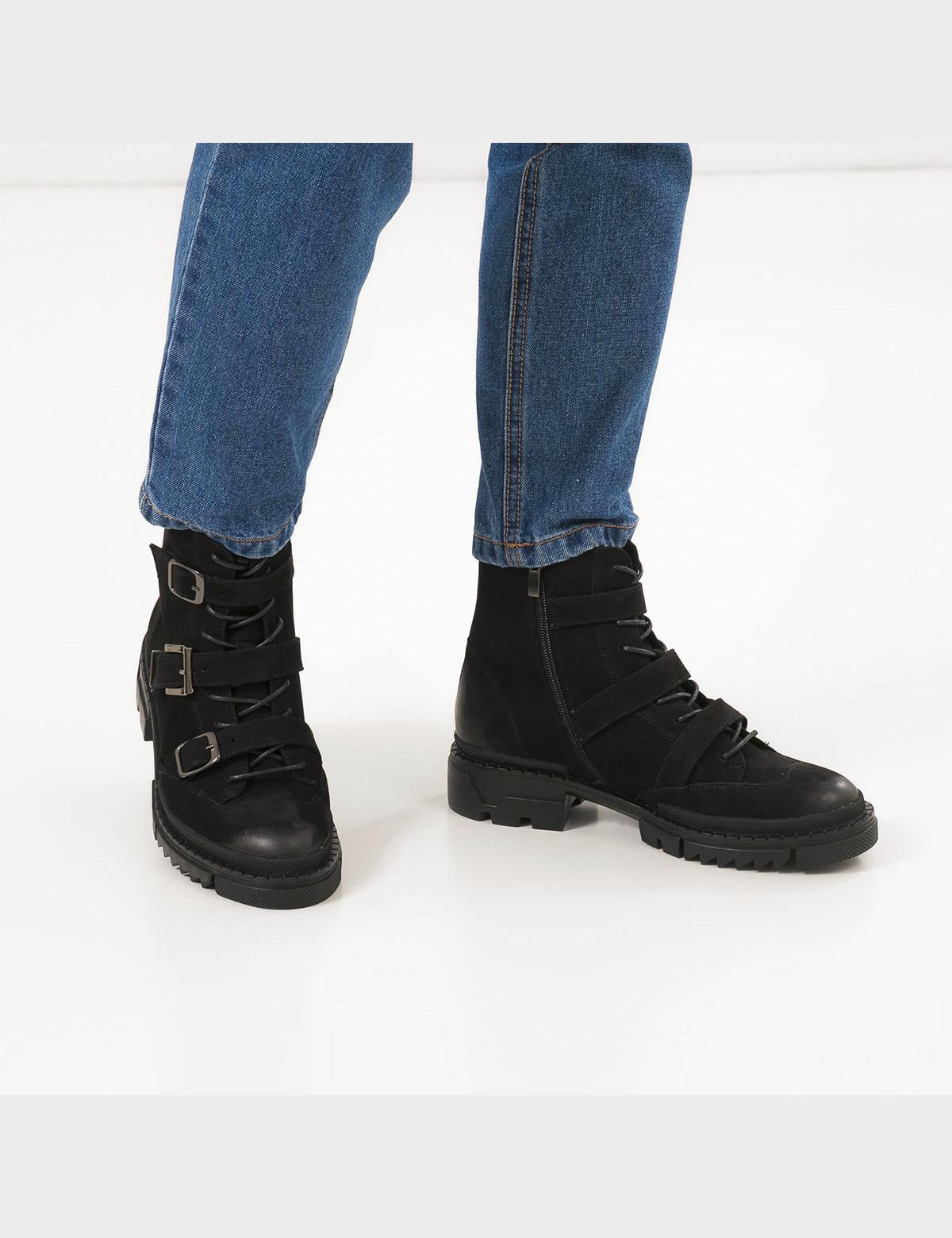Ботинки черные натуральный нубук. Байка5
