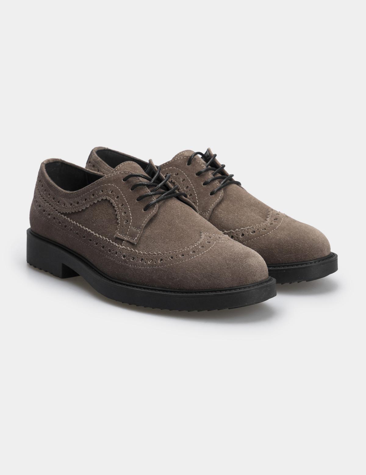 Туфлі темно-бежеві, натуральна замша1