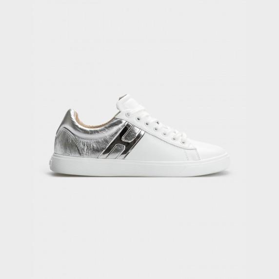 Кроссовки бело/серебряные, натуральная кожа