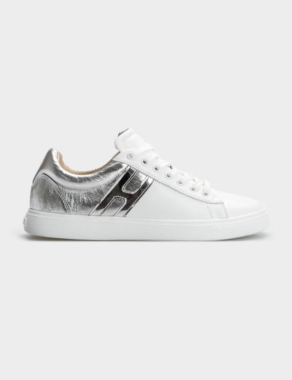 Кросівки біло/срібні, натуральна шкіра