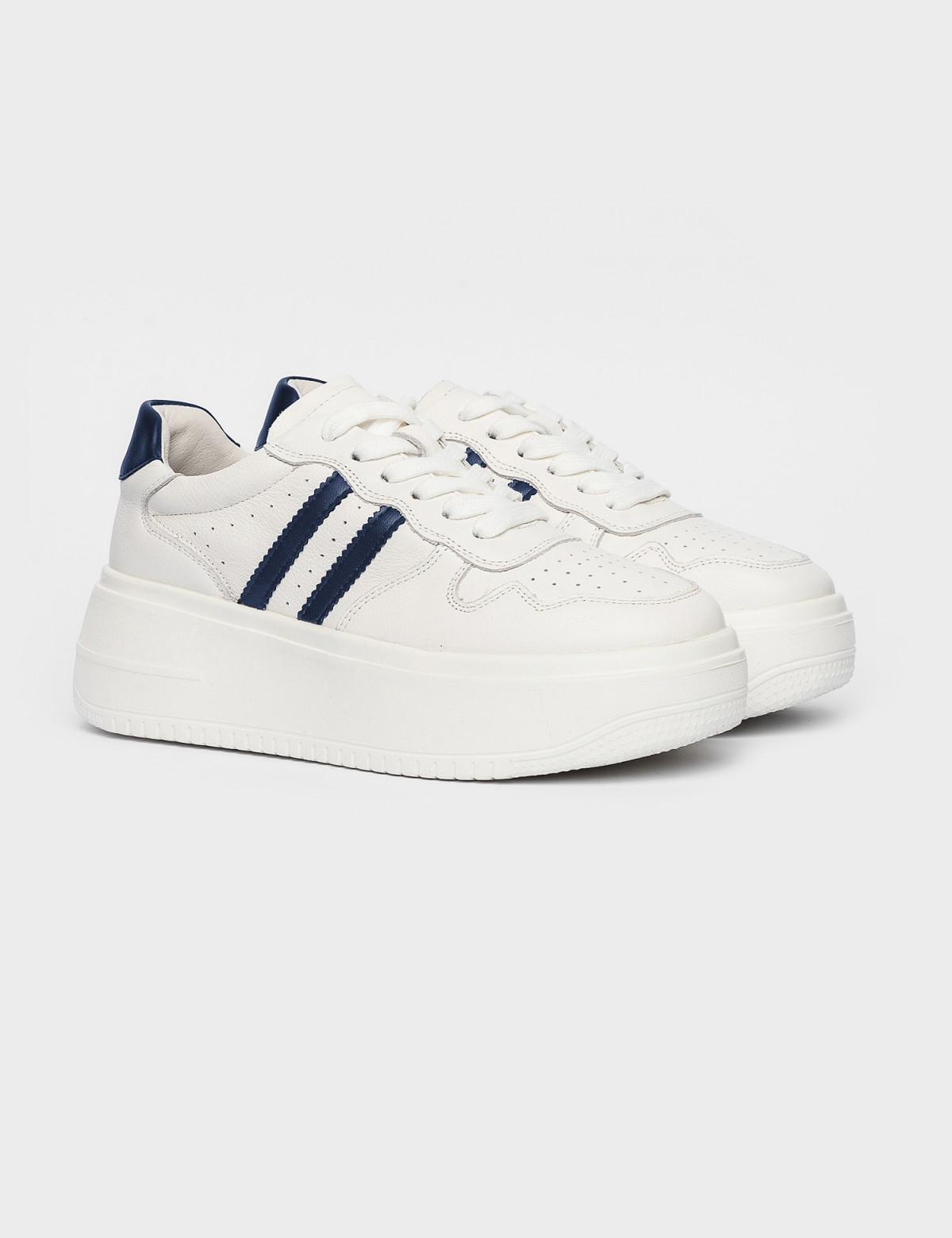 Кросівки білі/сині. Натуральна шкіра1