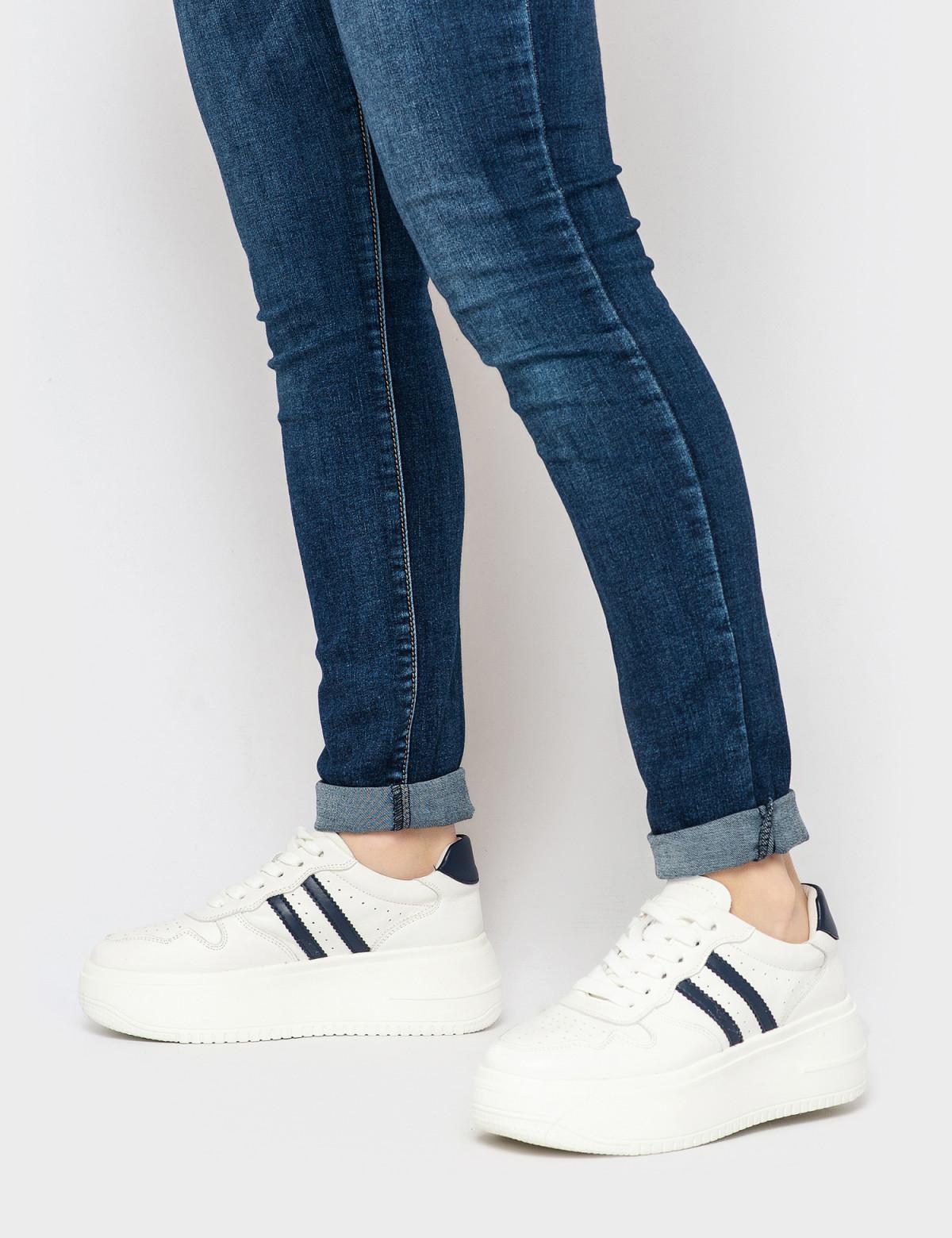 Кросівки білі/сині. Натуральна шкіра4
