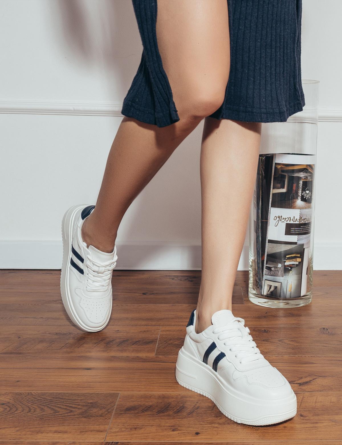 Кросівки білі/сині. Натуральна шкіра5
