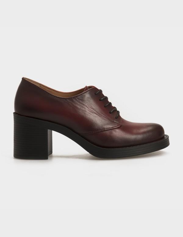 Туфлі бордові, натуральна шкіра