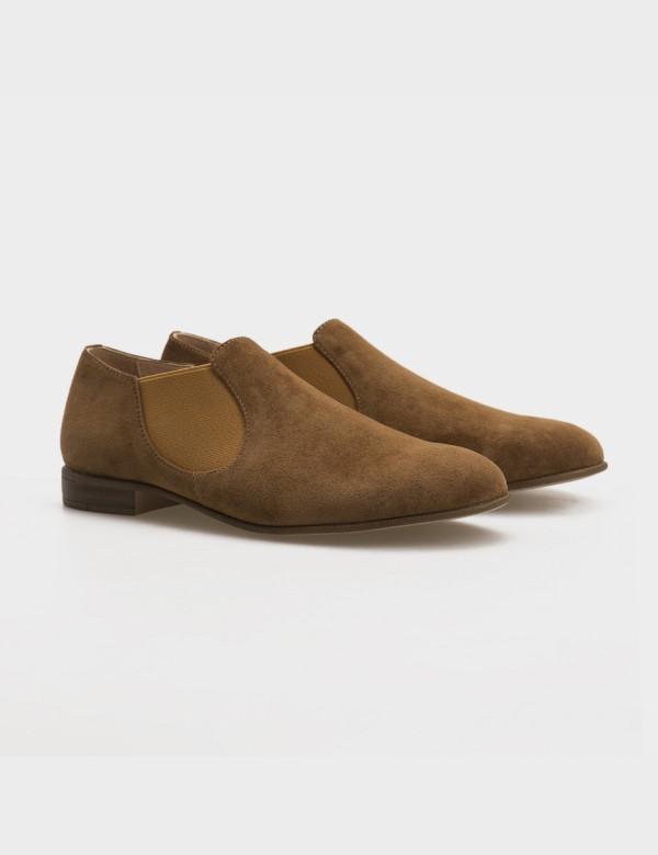 Туфлі бежеві, натуральна замша