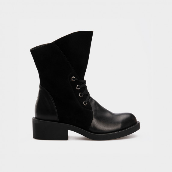 Ботинки черные, натуральная кожа/замша. Шерсть