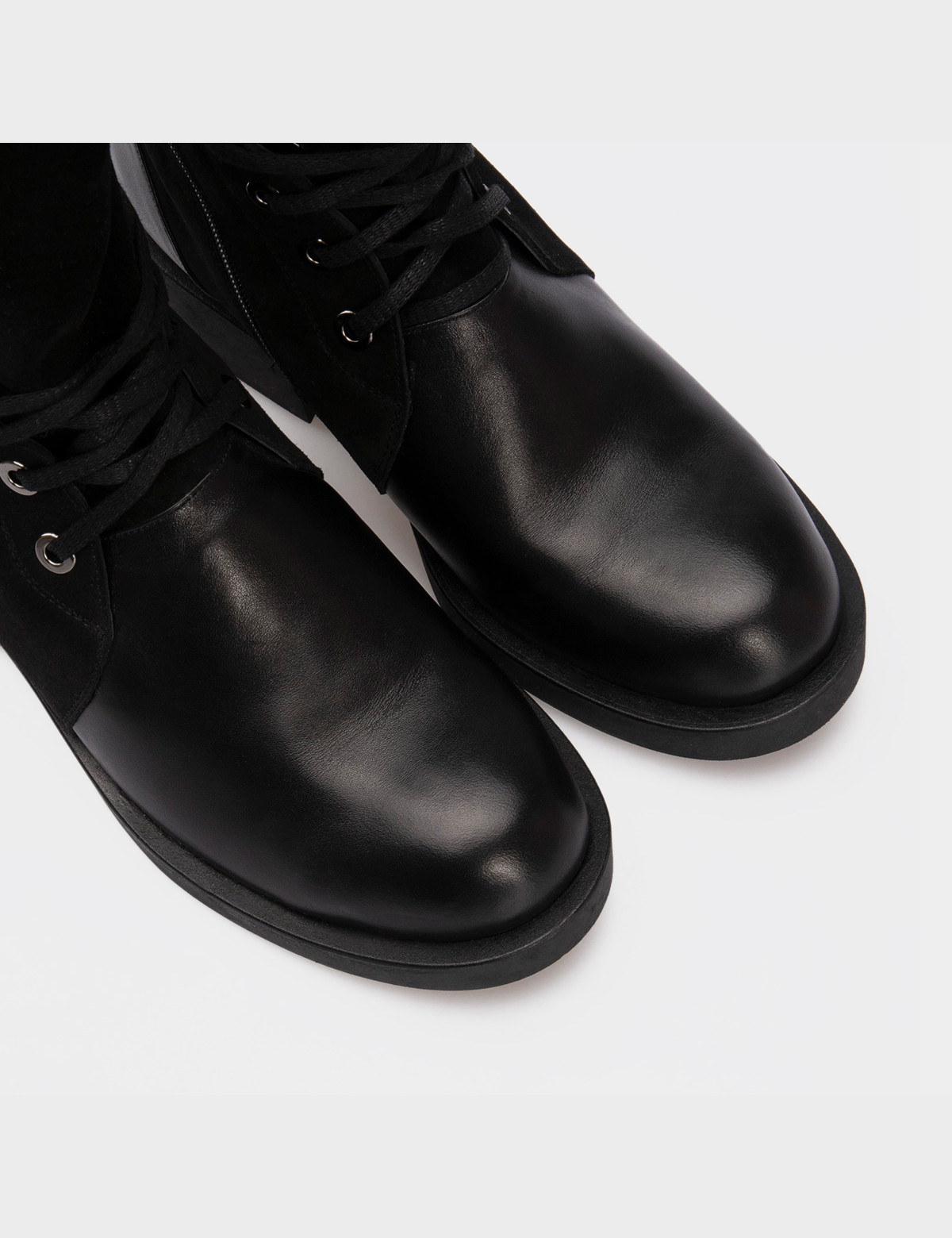 Черевики чорні, натуральна шкіра / замша. Вовна4