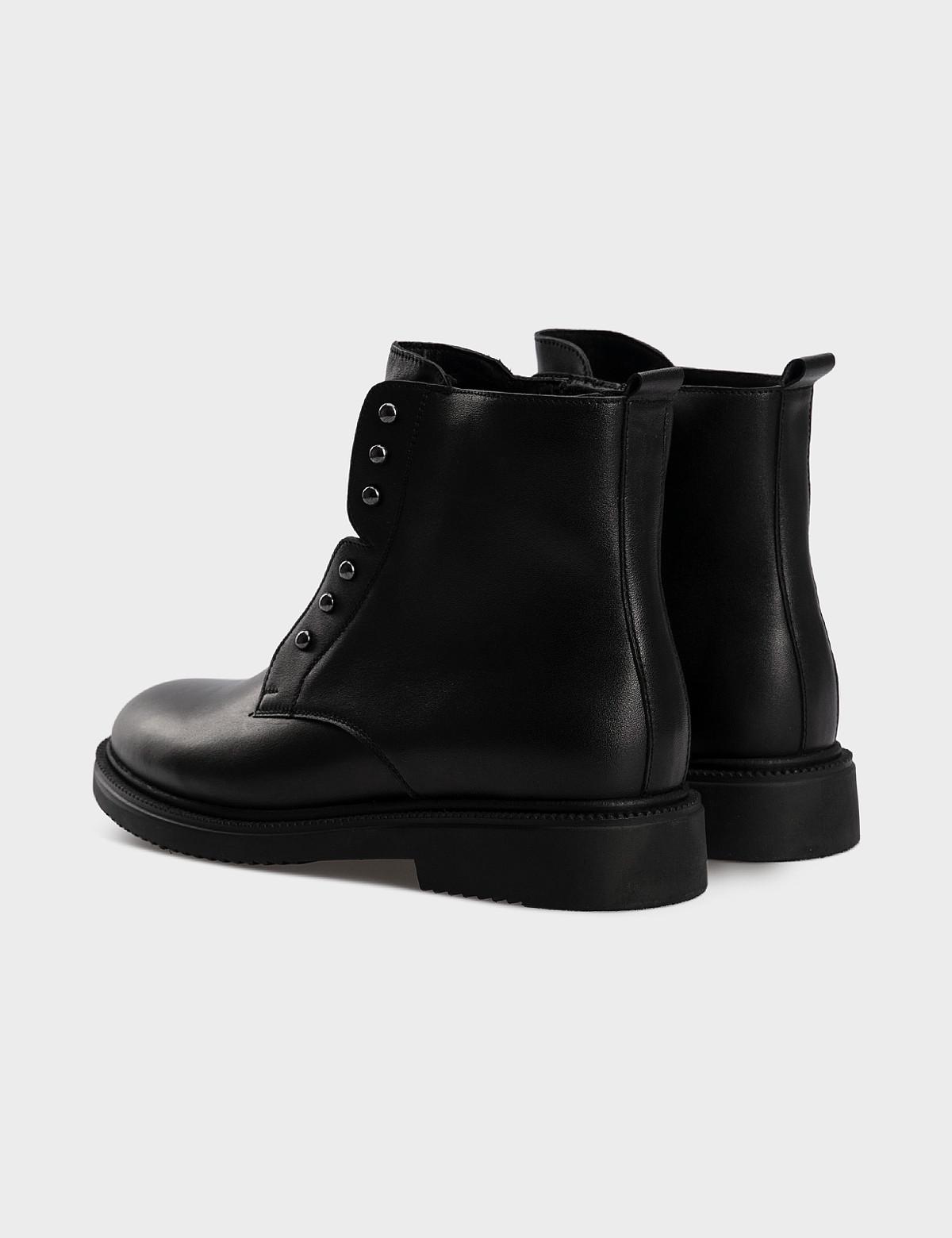Ботинки черные, натуральная кожа. Шерсть 3