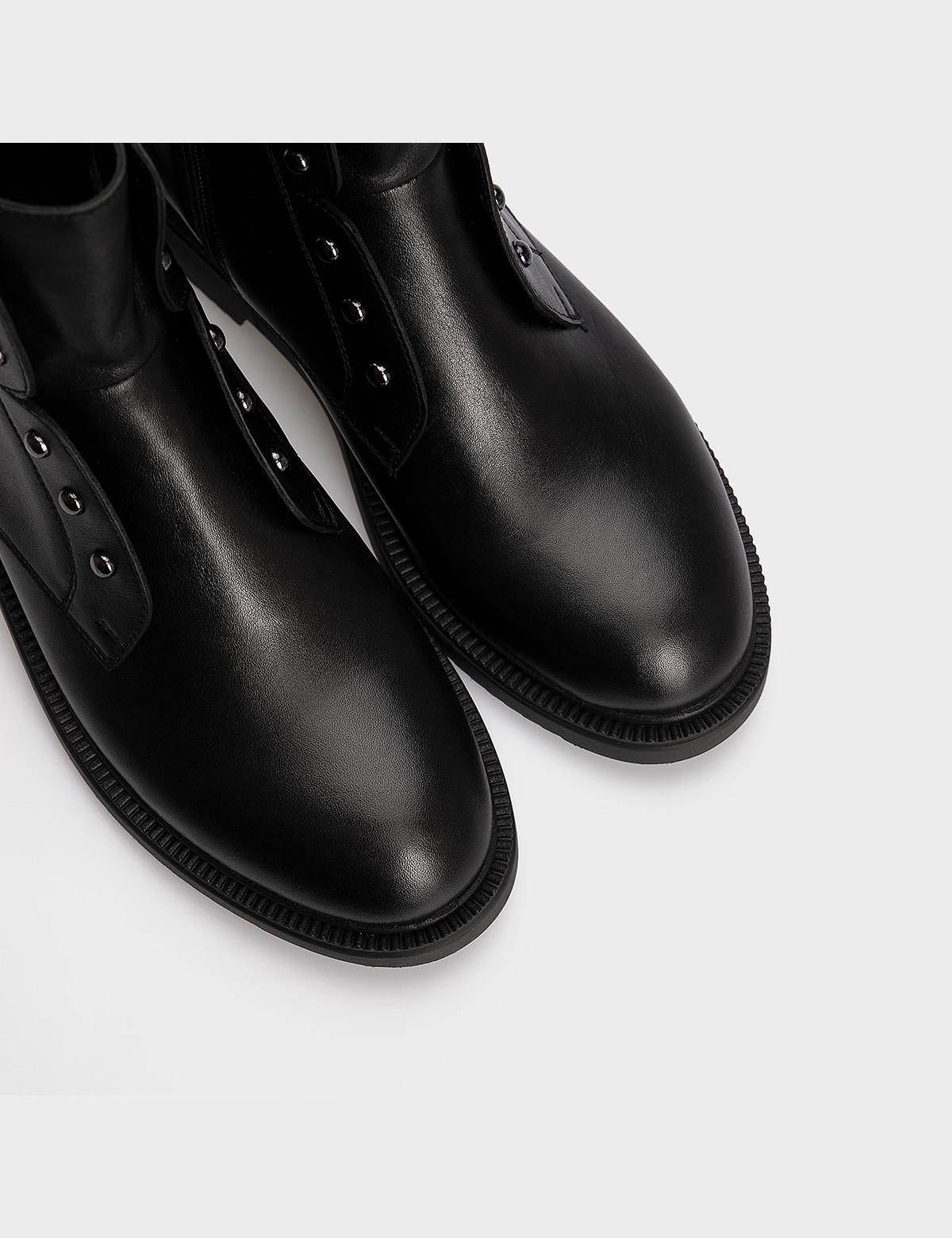 Ботинки черные, натуральная кожа. Шерсть 4