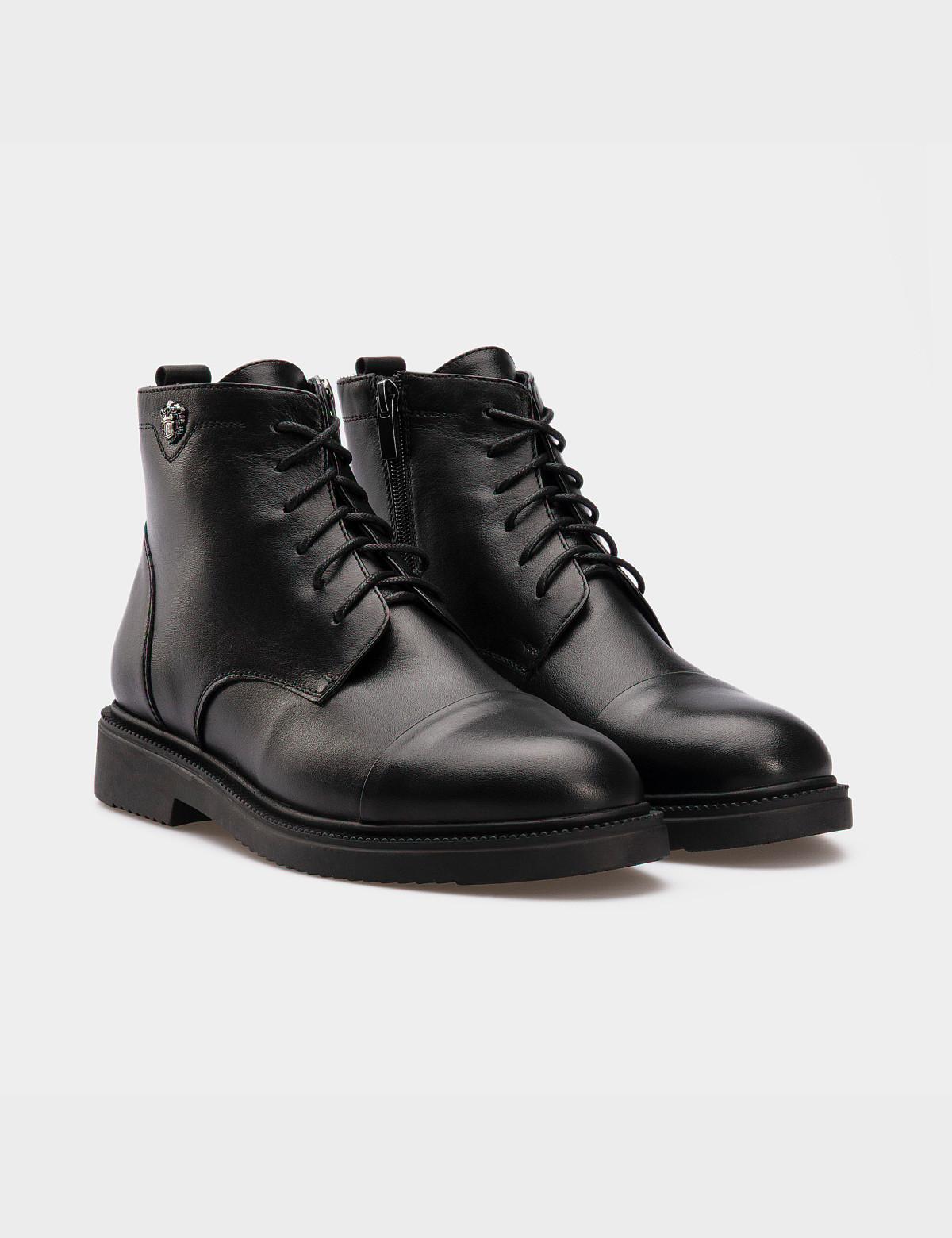 Ботинки черные, натуральная кожа. Шерсть 1