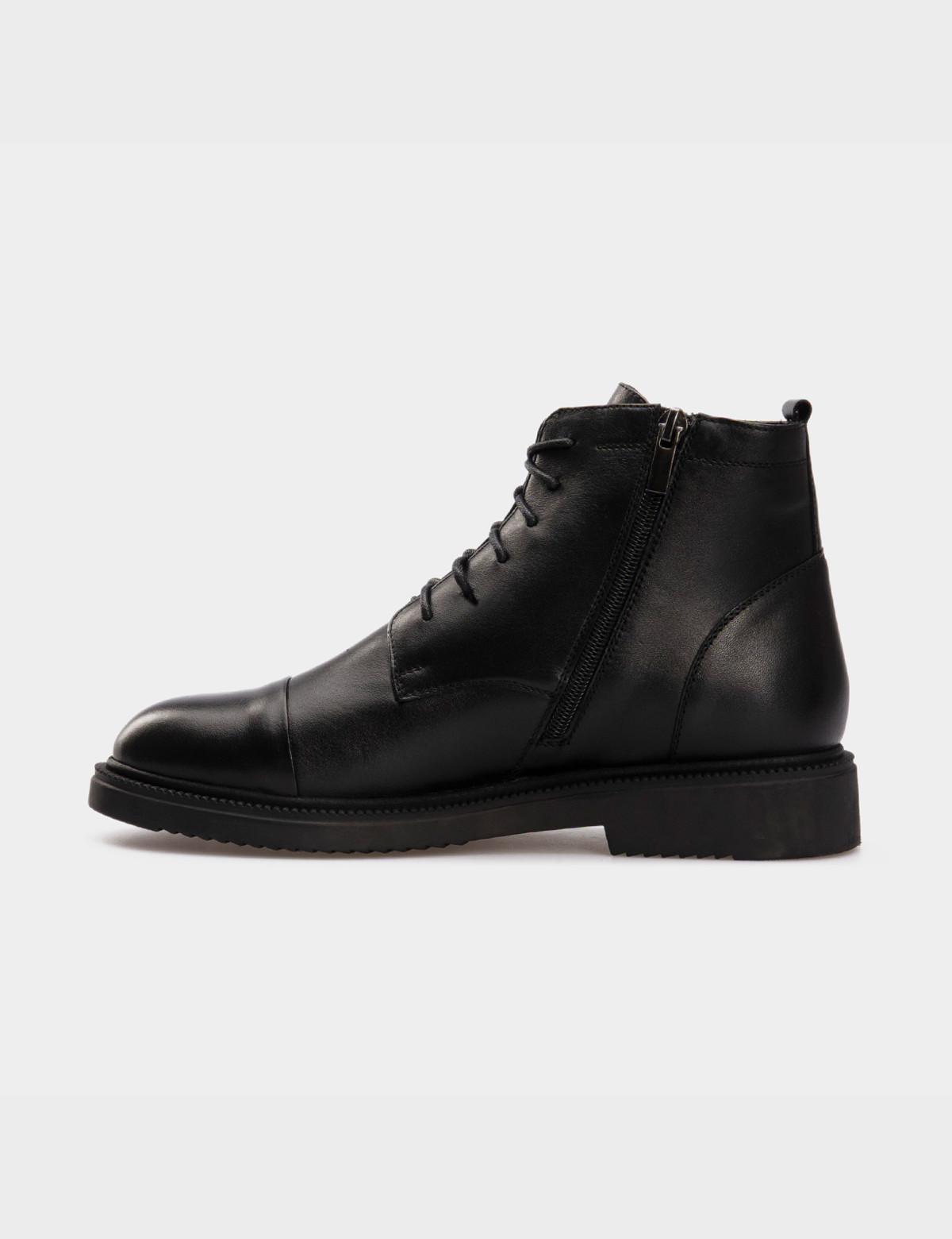Ботинки черные, натуральная кожа. Шерсть 2