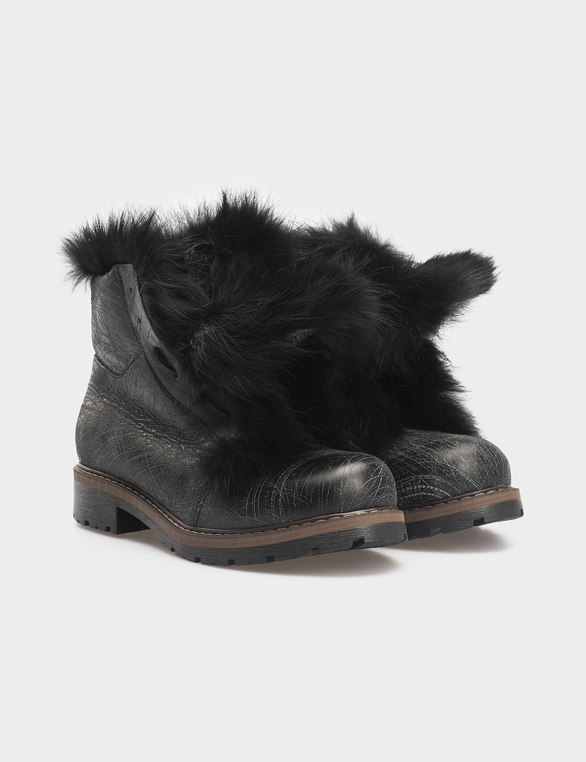 Ботинки черные, натуральная кожа. Мех1