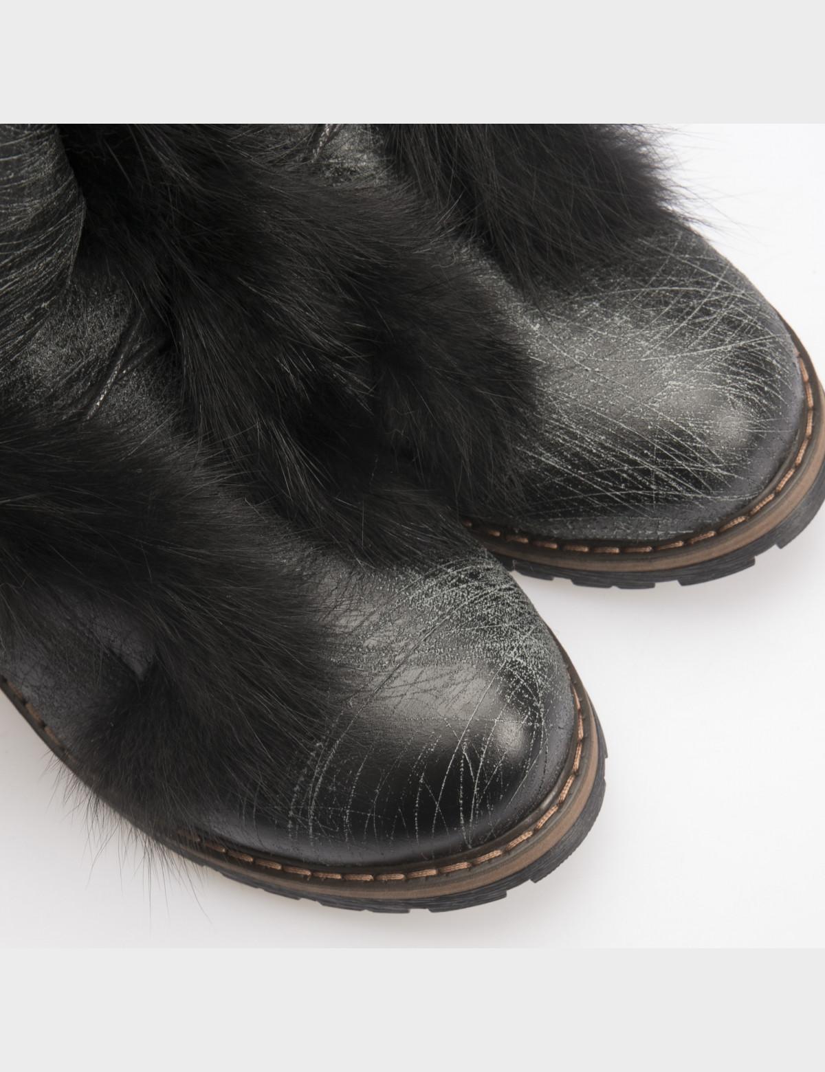Ботинки черные, натуральная кожа. Мех4