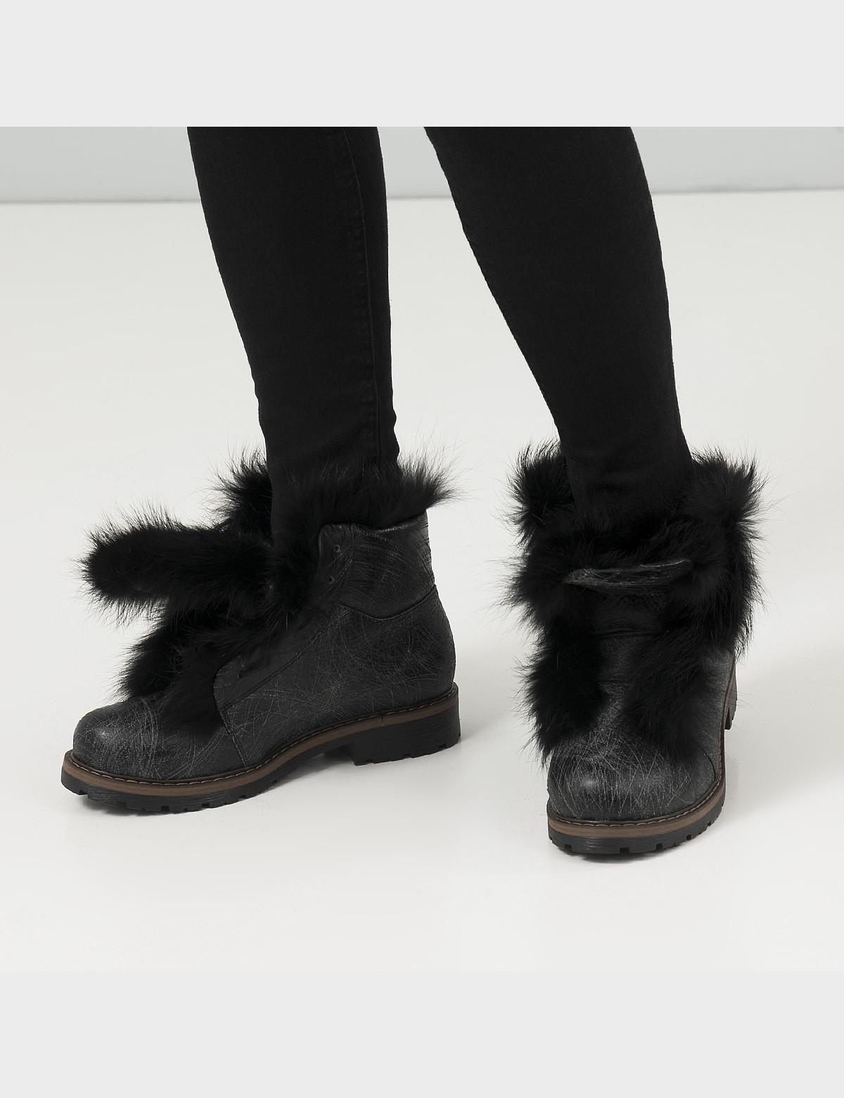Ботинки черные, натуральная кожа. Мех5