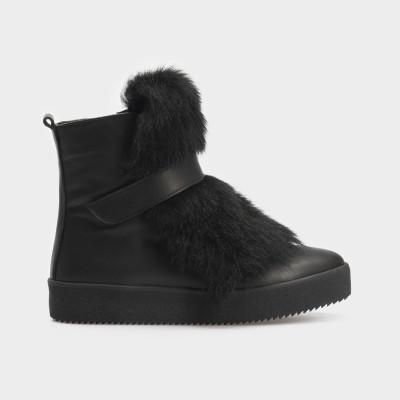Ботинки черные, натуральная кожа/мех. Шерсть