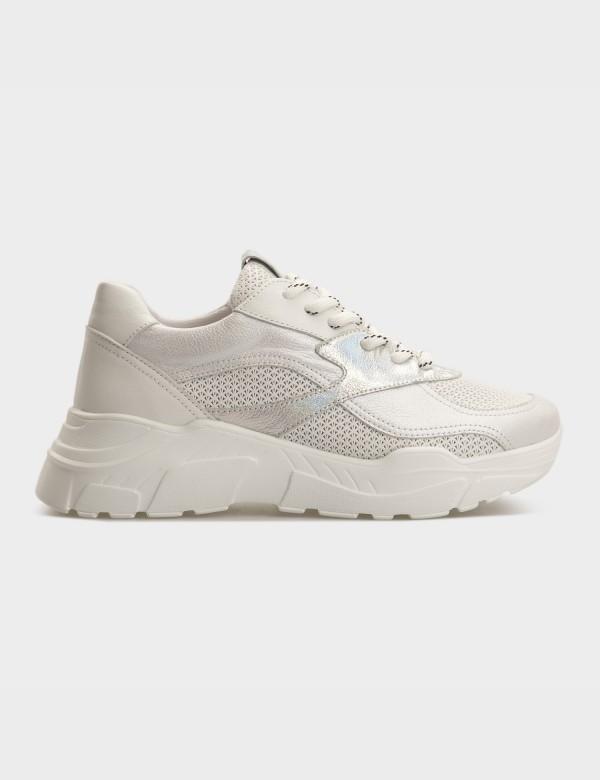 Кросівки білі\срібні, натуральна шкіра